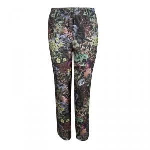 Valentino Multicolor Floral Printed Silk Drawstring Detail Pants L