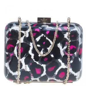 حقيبة كلتش فالنتينو زجاج بلكسي بنقشة الفهد الوردي وسلسلة