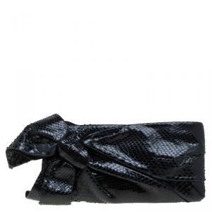 Valentino Black Python Bow Clutch