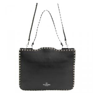 Valentino Black Leather Rockstud Flip Lock Messenger Bag