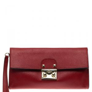 Valentino Red Textured Leather Folded Pouch