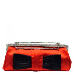 Valentino Bi Color Satin Evening Clutch Bag