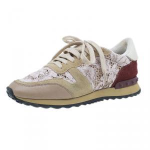 Valentino Beige Macramé Lace Sneakers Size 37.5