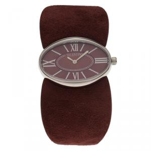 Valentino Red Stainless Steel and Leather Signature Women's Wristwatch 36MM