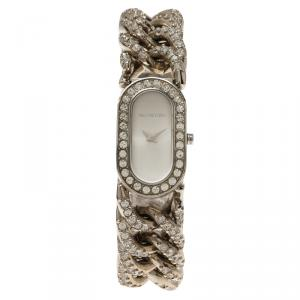 Valentino Silver Stainless Steel Crystals Curb Chain Women's Wristwatch 18MM