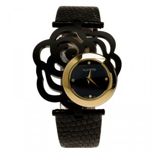 Valentino Black Gold-Plated Stainless Steel Rosier Baselworld Women's Wristwatch 25MM
