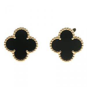 Van Cleef & Arpels Vintage Alhambra Onyx 18k Yellow Gold Stud Earrings