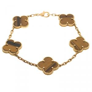 Van Cleef & Arpels Vintage Alhambra 5-Motifs Tiger's Eye 18k Yellow Gold Bracelet 16cm