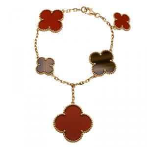 Van Cleef & Arpels Magic Alhambra Tiger Eye and Red Carnelian Yellow Gold Bracelet