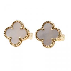 Van Cleef & Arpels Vintage Alhambra Mother of Pearl Yellow Gold Clip Earrings