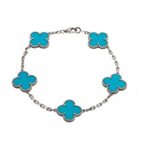 Van Cleef & Arpels Vintage Alhambra 5 Motifs Turquoise White Gold Bracelet