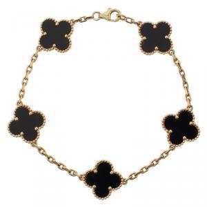 Van Cleef & Arpels Vintage Alhambra 5 Motifs Onyx Yellow Gold Bracelet