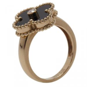Van Cleef and Arpels Vintage Alhambra Onyx  Yellow Gold Ring Size 51