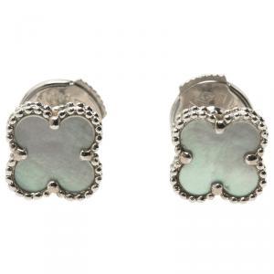Van Cleef & Arpels Sweet Alhambra Mother of Pearl White Gold Earrings