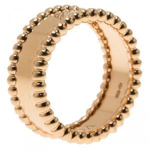 Van Cleef & Arpels Perlee Signature Rose Gold Ring Size 51