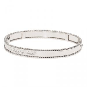 Van Cleef & Arpels Perlee Signature White Gold Bangle Bracelet Size 18