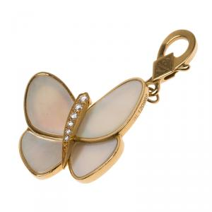Van Cleef & Arpels Butterfly Diamond Mother of Pearl Gold Charm
