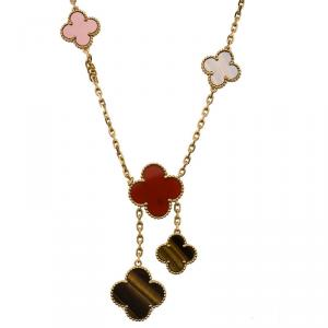 Van Cleef & Arpels 5 Motif Magic Alhambra Tiger's Eye, Carnelian and Yellow Gold Necklace