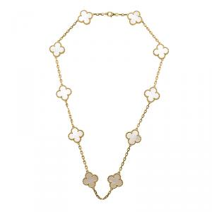Van Cleef & Arpels Vintage Alhambra 10 motifs Mother of Pearl Yellow Gold Necklace