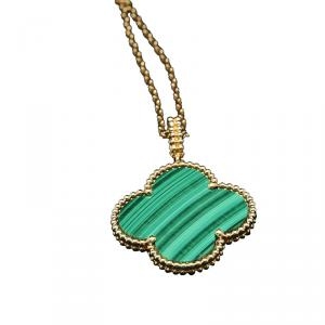 Van Cleef and Arpels Magic Alhambra Malachite Yellow Gold Necklace