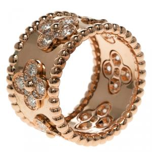 Van Cleef & Arpels Perlée Clover Diamond & 18k Rose Gold Ring Size 50