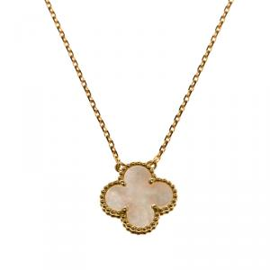 Van Cleef & Arpels Vintage Alhambra Mother of Pearl Yellow Gold Pendant Necklace
