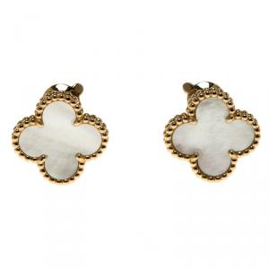 Van Cleef & Arpels Vintage Alhambra Mother of Pearl 18k Yellow Gold Clip-on Stud Earrings