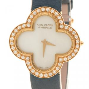 Van Cleef and Arpels Mother of Pearl 18K Yellow Gold Alhambra Talisman Women's Wristwatch 30 mm