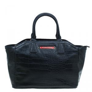 Versace Jeans Black Croc Embossed Leather Tote