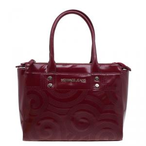 Versace Jeans Burgundy Textured Patent Leather Swirl Stitched Tote