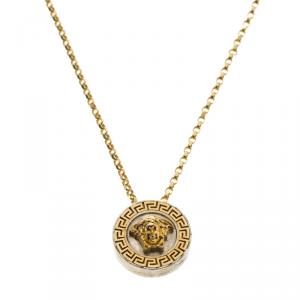 Versace Silver & 18k Gold Medusa Necklace