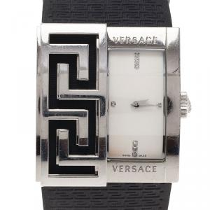 Versace White Stainless Steel V-Greca Women's Wristwatch 38MM