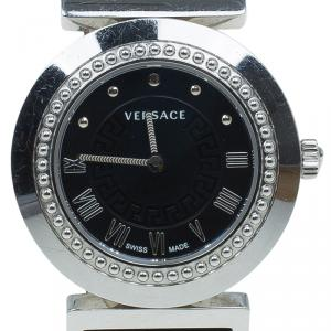 Versace Black Stainless Steel Vanity Women's Wristwatch 35MM