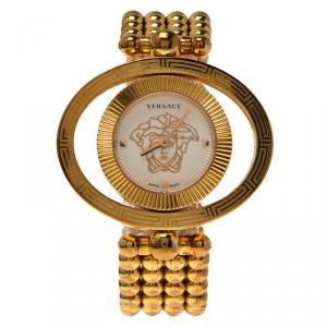 Versace White Gold-Plated Stainless Steel Eon Ellipse Women's Wristwatch 40MM