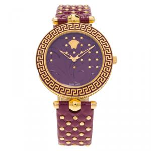 Versace Purple Gold-Plated Stainless Steel Vanitas Women's Wristwatch 40MM