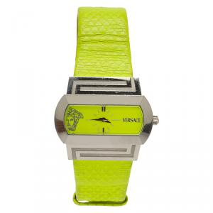 Versace Fluorescent Green Stainless Steel Hippodrome Women's Wristwatch 41MM