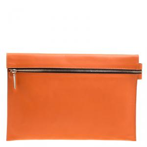 Victoria Beckham Orange Leather Clutch