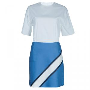 Victoria Victoria Beckham White and Blue Short Sleeve Dress S