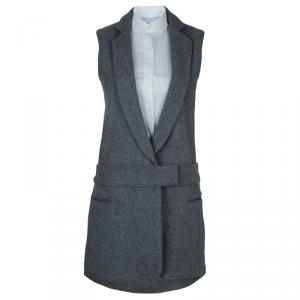 Victoria Victoria Beckham Grey Wool Double Layer Sleeveless Coat S