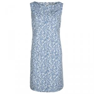 Victoria Victoria Beckham Blue and White Brocade Sleeveless Shift Dress L