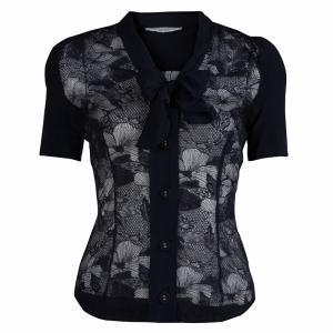 Viktor & Rolf Navy Blue Short Sleeve Sheer Lace Shirt S