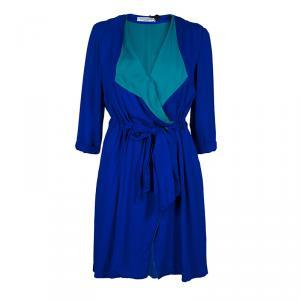 Viktor & Rolf Blue Silk Contrast Lapel Waist Tie Detail Dress M