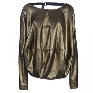 Vivienne Westwood Anglomania Gold Metallic Long Sleeve Top S