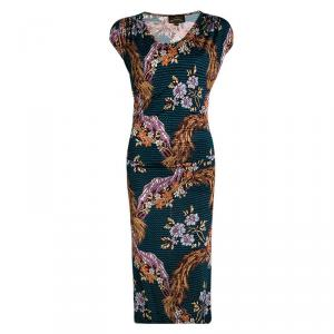Vivienne Westwood Anglomania Multicolor Floral Printed Drape Detail Dress XS