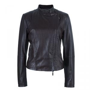 Weekend Max Mara Brown Leather Biker Jacket M