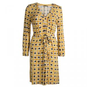 Weekend Max Mara Yellow Polka Dot Print Dress L