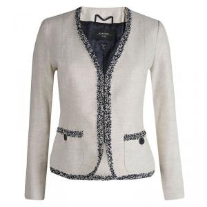 Weekend Max Mara Cream Tweed Contrast Trim Jacket S