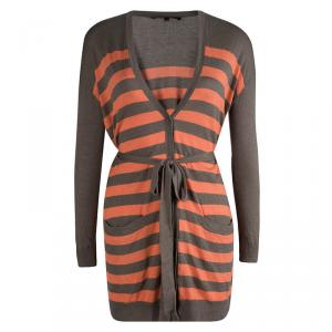 Weekend By Max Mara Brown and Orange Striped Belted Cardigan XS