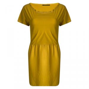 Weekend Max Mara Yellow Gathered Waist Short Sleeve Dress L