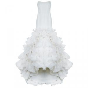 White By Vera Wang Strapless Ivory Ruffle Wedding Gown XS
